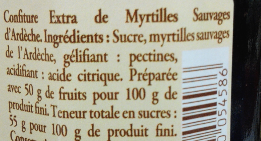 Confiture de myrtilles de l'Ardèche - Ingredienti - fr