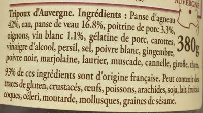 4 petits tripoux d'Auvergne - Ingrédients - fr