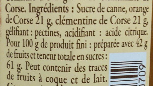 Confiture d'oranges et de clémentines de Corse - Ingrédients