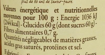 Confiture d'oranges et de clémentines de Corse - Informations nutritionnelles - fr