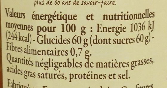 Confiture d'oranges et de clémentines de Corse - Informations nutritionnelles