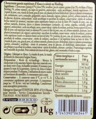 Veritable choucroute garnie d'alsace - Ingrédients - fr