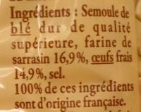 Crozets de Savoie au sarrasin - Ingredients - fr