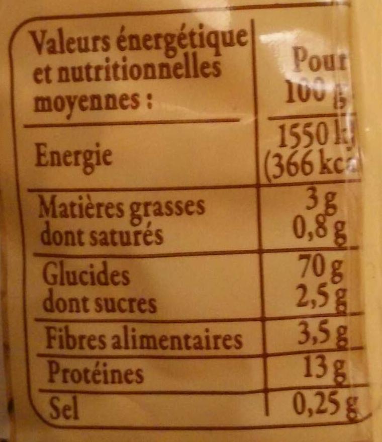 Crozets de Savoie au sarrasin - Nutrition facts - fr