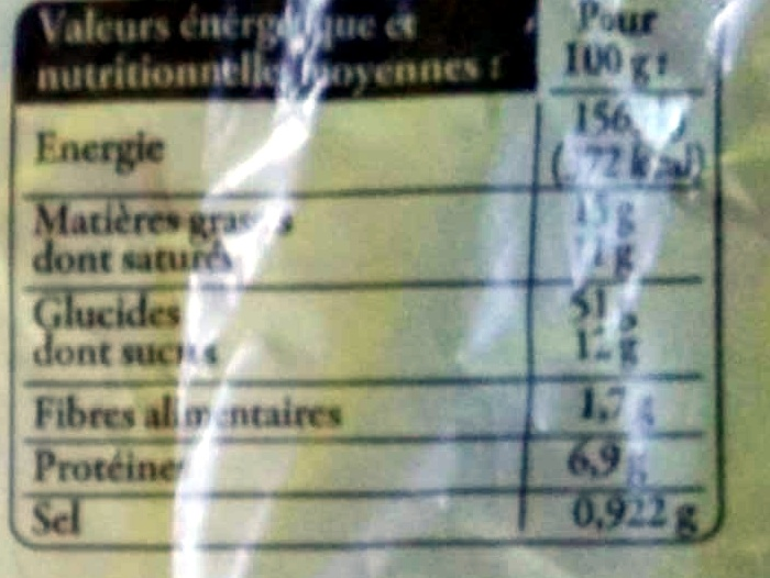 Gâche vendéenne I.G.P. - Informations nutritionnelles