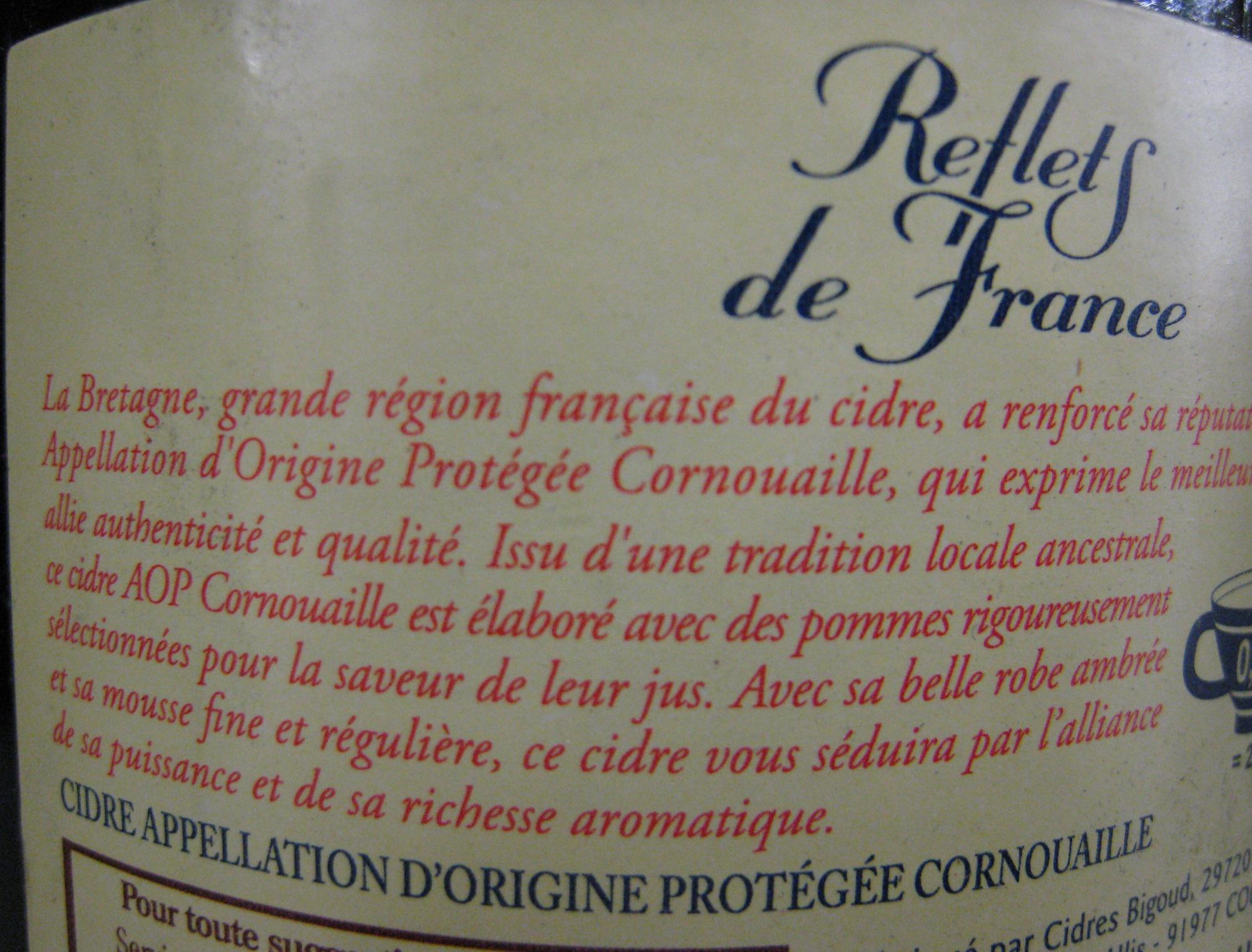 Cidre Cornouaille Reflets de France - Ingrédients - fr