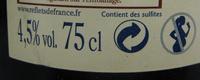 Cidre Cornouaille Reflets de France - Informations nutritionnelles - fr