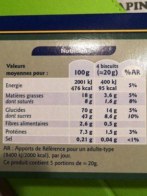 Tuiles aux amandes croustillantes - 营养成分 - fr