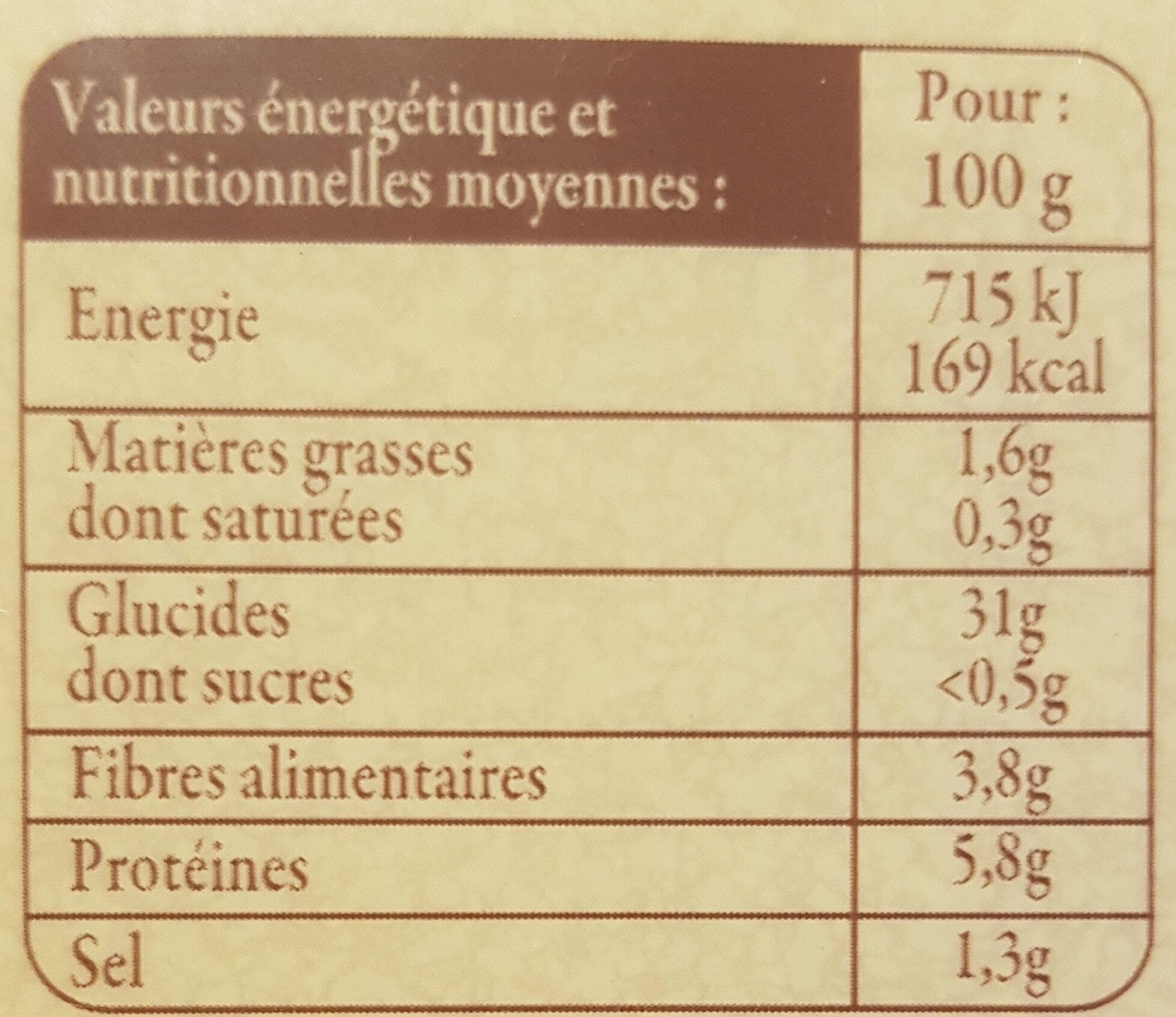 6 Galettes de sarrasin - Informations nutritionnelles