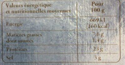 Truite fumée d'Aquitaine élevée en eau douce - Informations nutritionnelles - fr