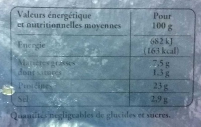 Truite fumée de bretagne - Informations nutritionnelles