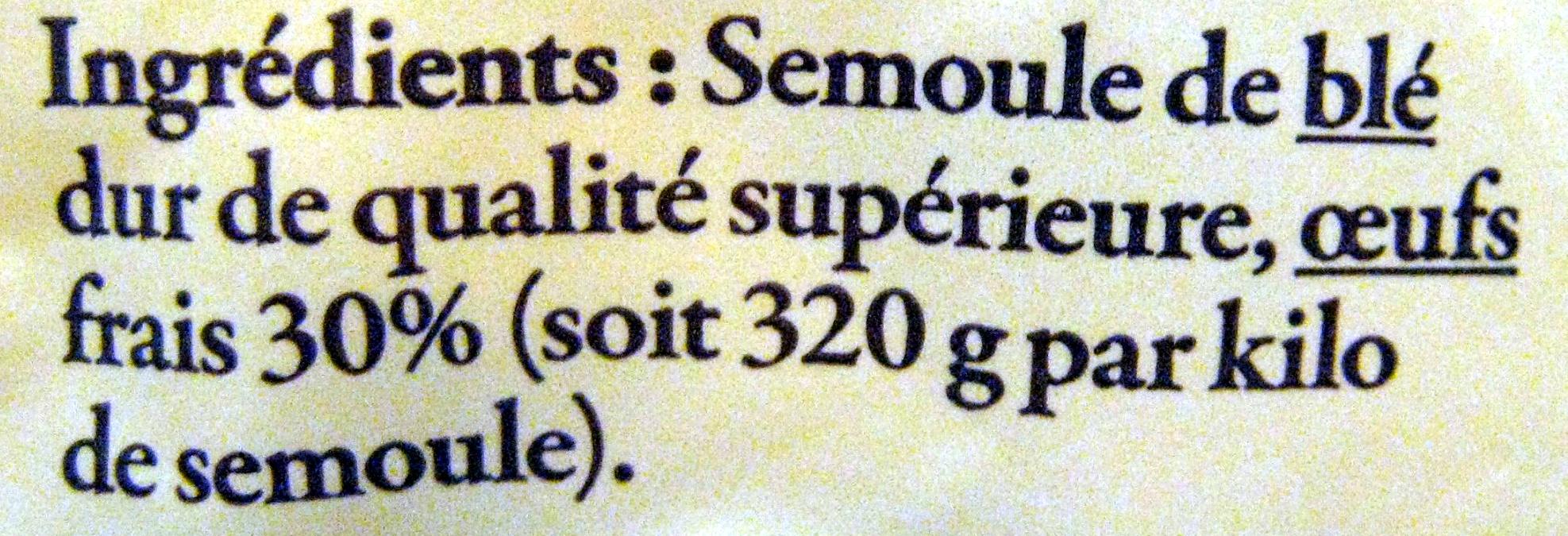 Pâtes d'Alsace IGP - Nids larges à l'ancienne - Ingrédients