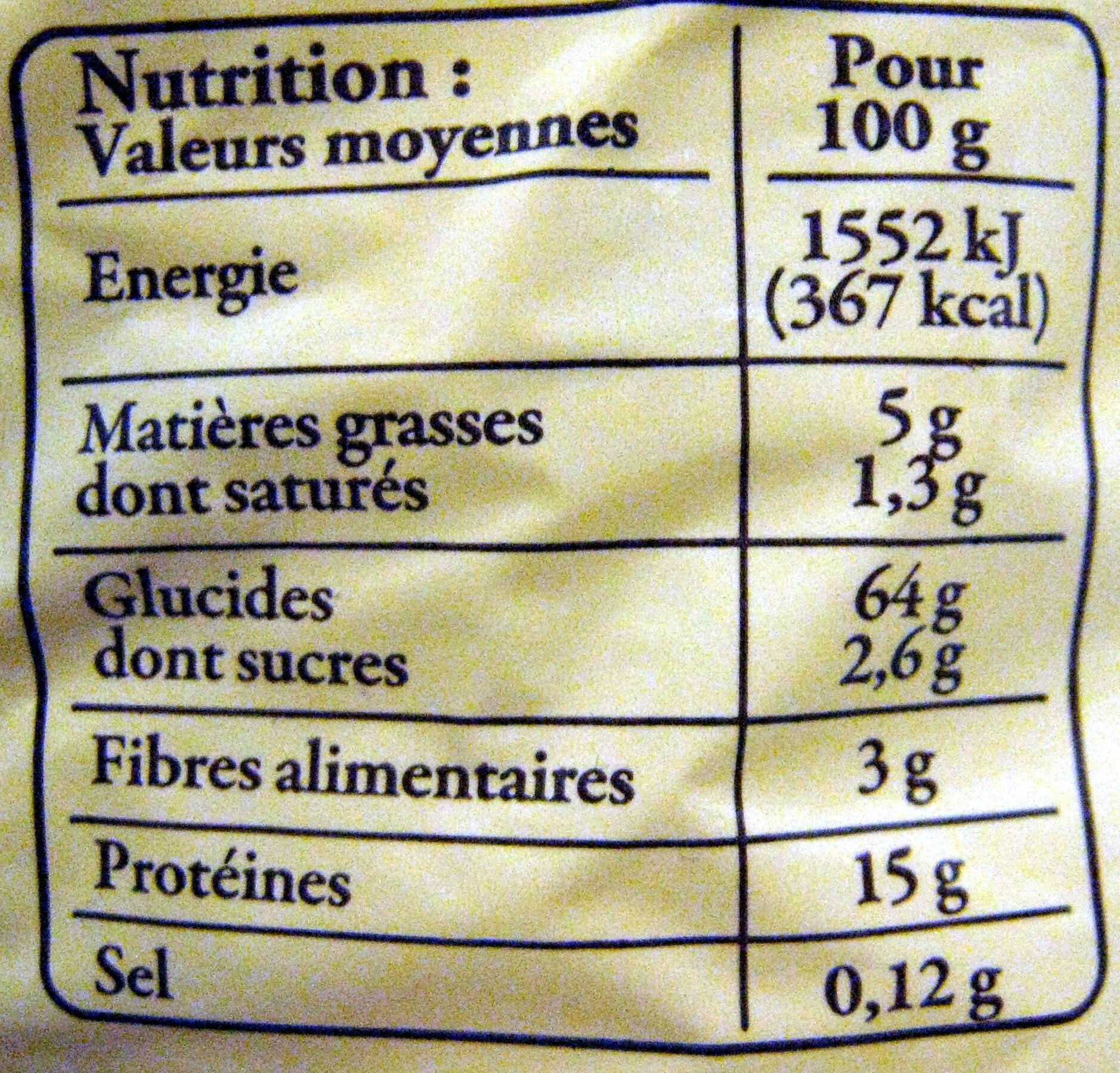 Pâtes d'Alsace IGP - Nids larges à l'ancienne - Informations nutritionnelles