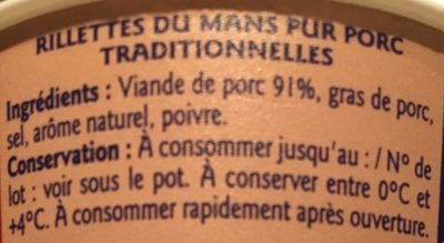 Rillettes pur porc - Ingrediënten - fr