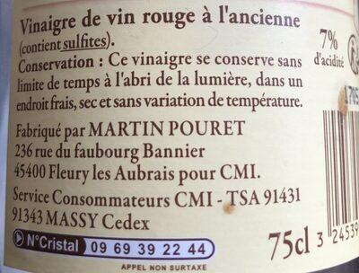 Vinaigre de vin a l'ancienne d'Orléans, - Ingredients - fr