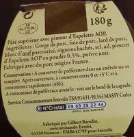 PÂTE AU PIMENT D'ESP. Recette Basque, - Ingrédients - fr