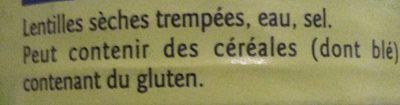 Lentilles Au Naturel - Ingrédients