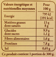 Aligot à la tome fraîche du Cantal - Informations nutritionnelles - fr