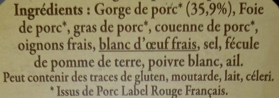 Pâté de Campagne au Porc Fermier préparé en Bretagne - Ingrédients - fr