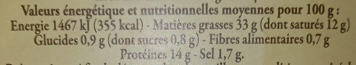 Pâté de Campagne au Porc Fermier préparé en Bretagne - Informations nutritionnelles - fr