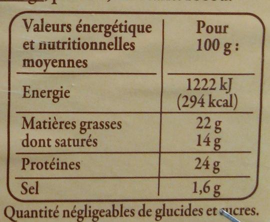Livarot (22% MG) - Informations nutritionnelles - fr