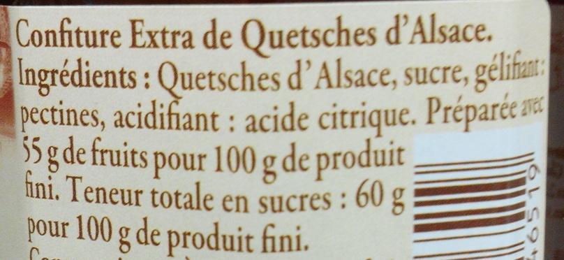 Confiture de quetsches d'Alsace - Ingrédients - fr