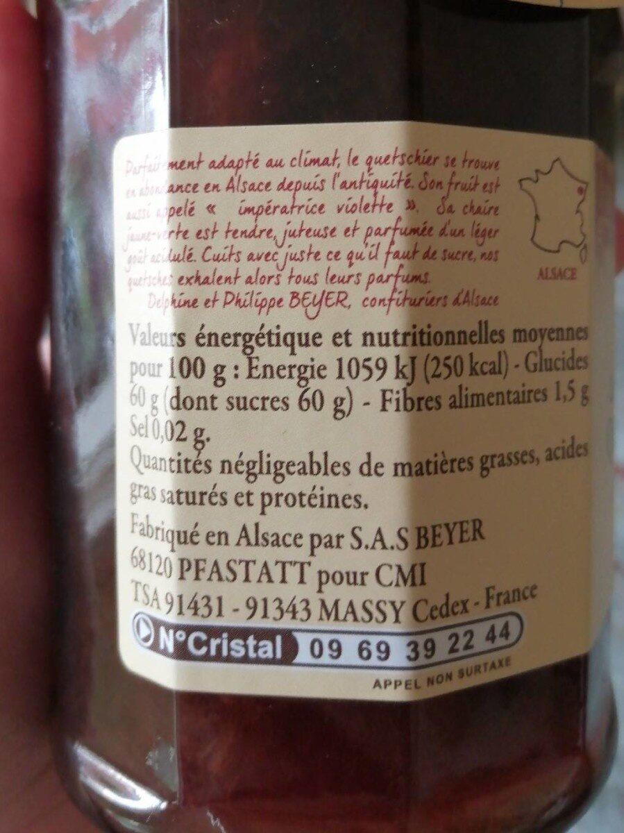 Confiture de quetsches d'Alsace - Informations nutritionnelles - fr