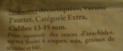 Noisettes du Sud-Ouest décortiquées 125 g - Reflets de France - Ingrédients - fr