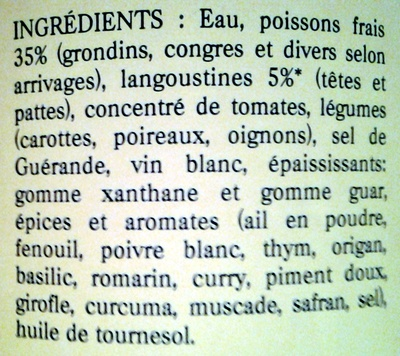 Soupe de Poissons - Ingrediënten