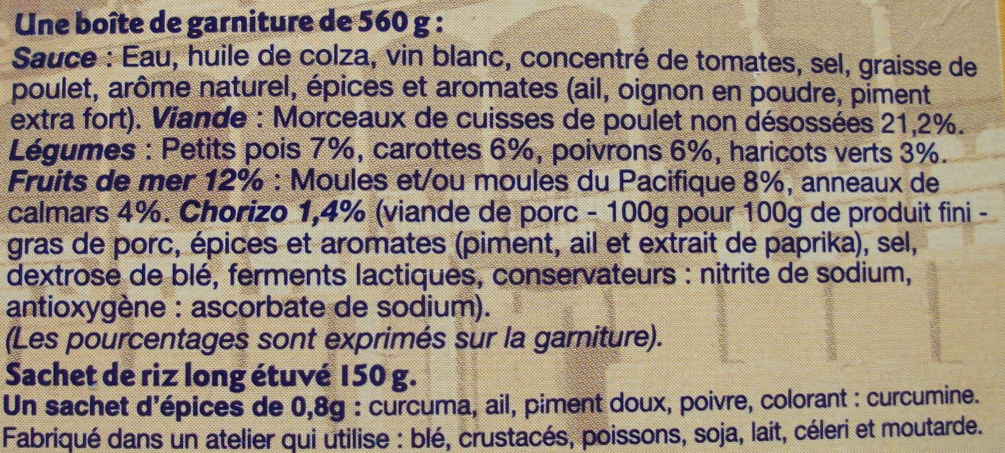 Paella (Volaille, Fruits de Mer et Chorizo) 2 personnes - Ingrédients - fr