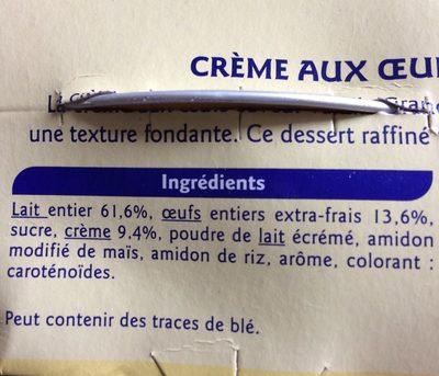 Crème aux oeufs saveur vanille - Ingrédients