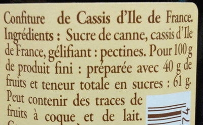 Confiture de cassis d'Ile de France - Ingrediënten