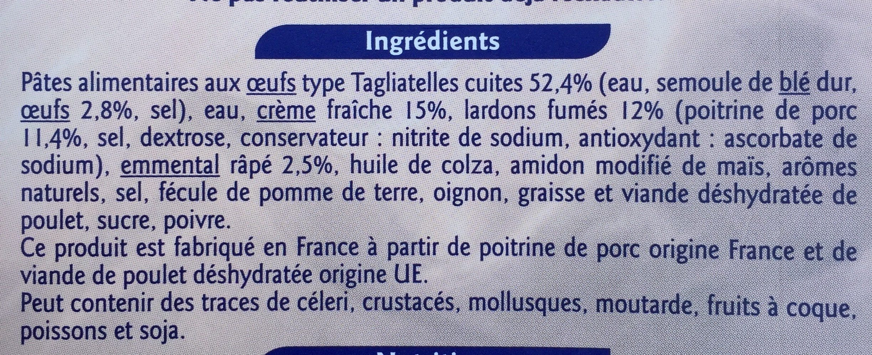 Tagliatelles à la carbonara - Ingredienti - fr