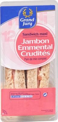Sandwich maxi Jambon emmental crudités Pain de mie complet - Product