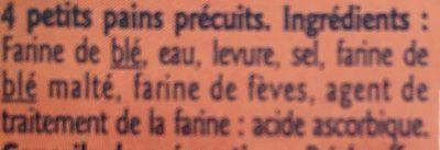 Petits pains précuits - Ingrediënten - fr