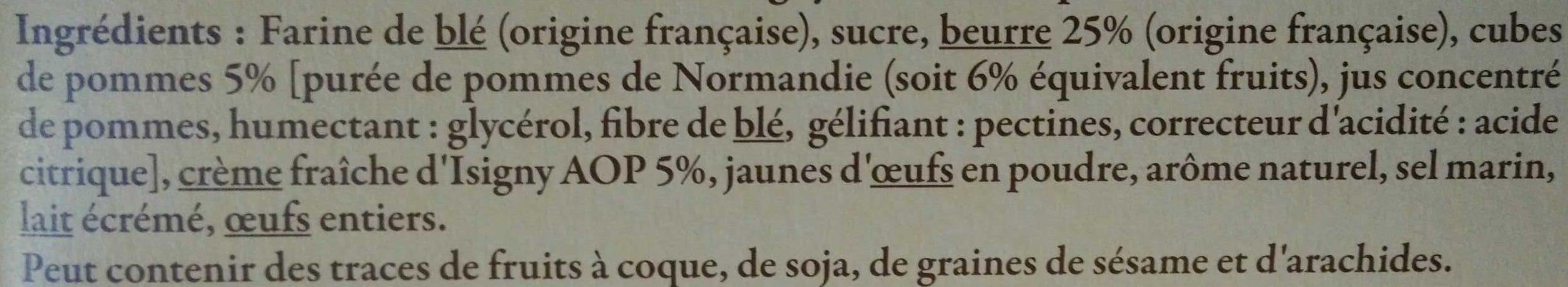 Sablés aux pommes à la crème fraîche d'Isigny AOP et au beurre - Ingrédients - fr