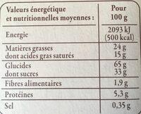 Sablés aux pommes à la crème fraîche d'Isigny AOP et au beurre - Informations nutritionnelles - fr