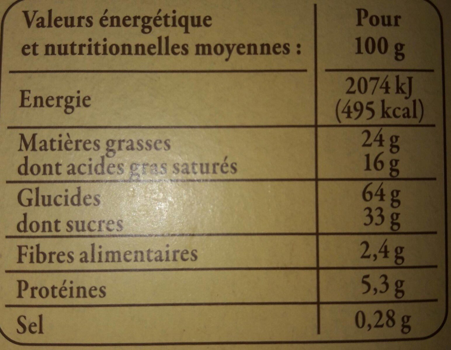 Sablés aux pommes à la crème fraîche d'Isigny AOP et au beurre - Nutrition facts - fr