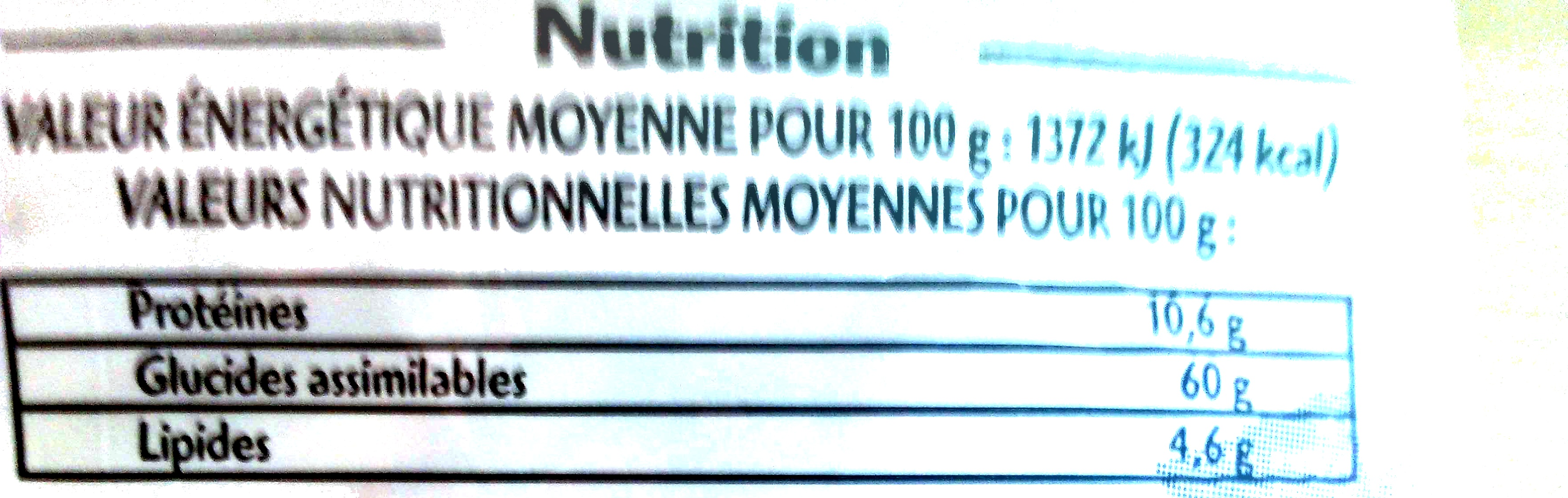 Maïs à Pop-Corn - Voedingswaarden - fr