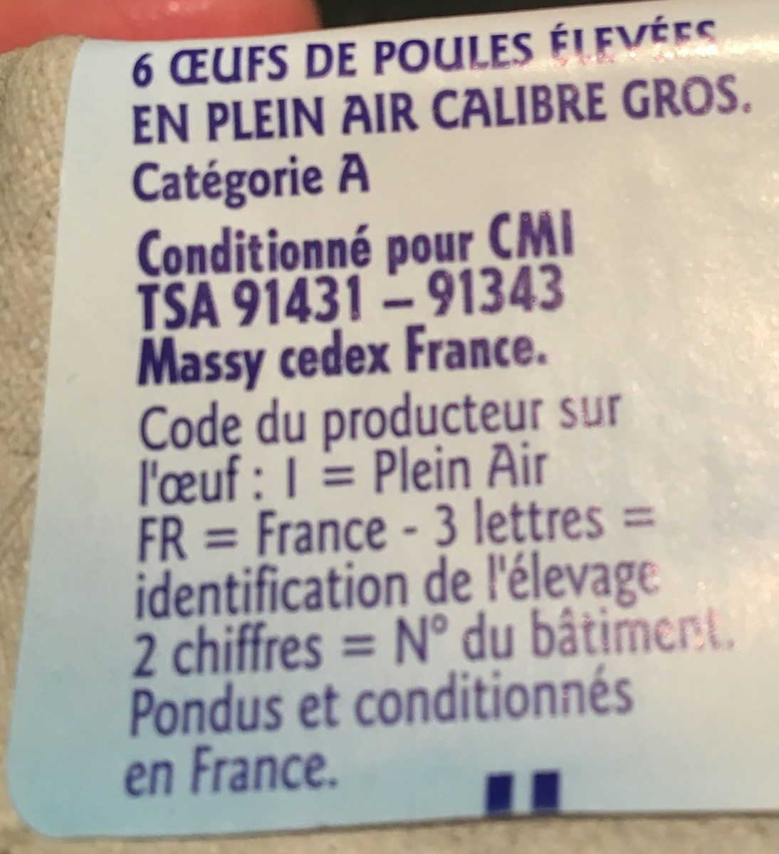 6 Oeufs Plein Air Gros Grand Jury - Ingrediënten - fr