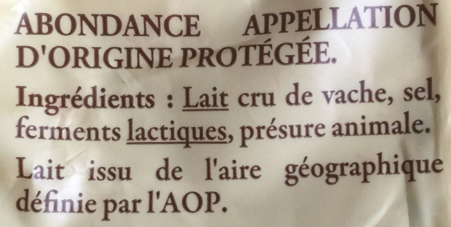 250G Abondance Aoc Reflets De France - Ingrediënten - fr