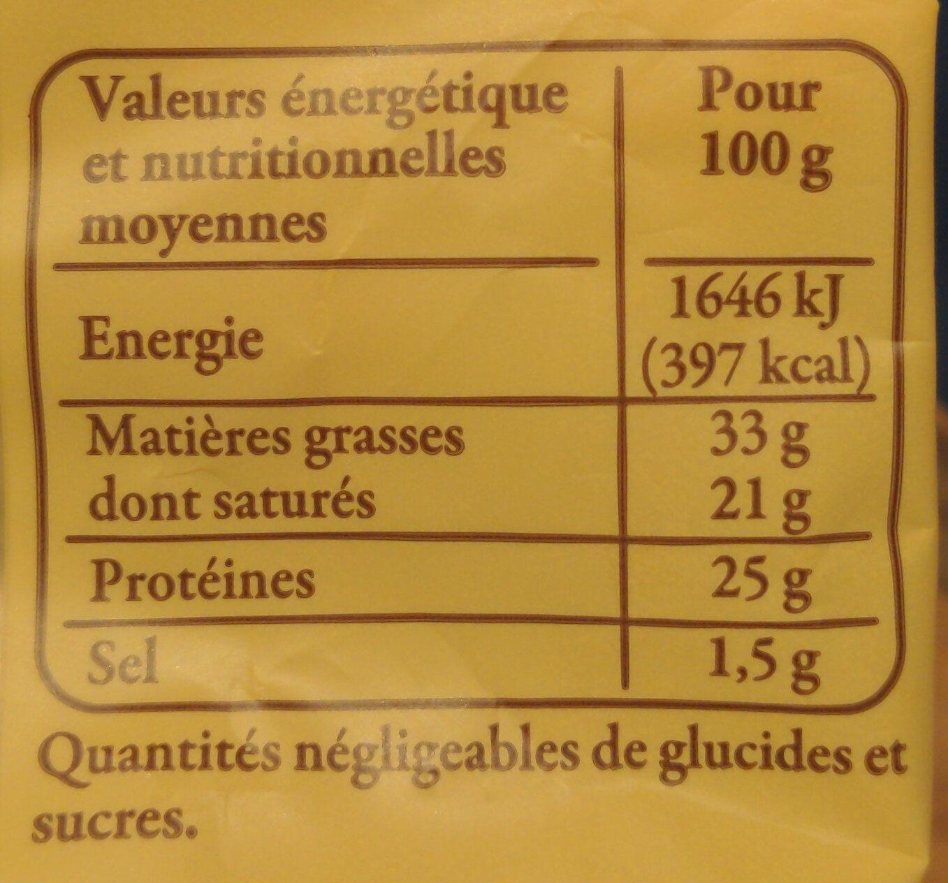 250G Abondance Aoc Reflets De France - Informations nutritionnelles - fr