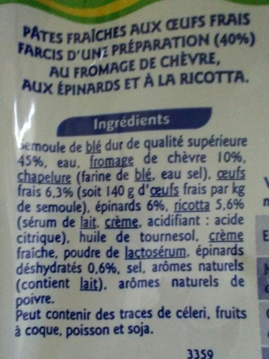 Tortellini chèvre épinards 300g grand jury - Ingrediënten - fr