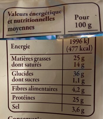185G Aligot D'aveyron Reflets De France - Nutrition facts - fr
