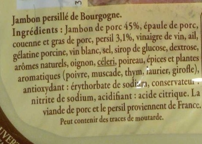 Jambon persillé de Bourgogne - Ingredientes