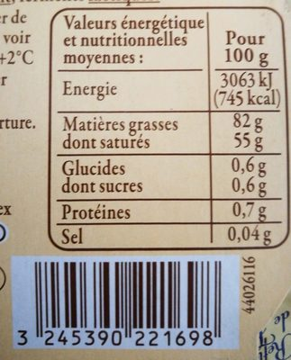 Beurre d'Isigny AOP de Baratte Doux - Ingredients