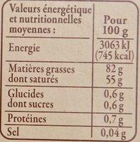 Beurre d'Isigny AOP de Baratte Doux - Nutrition facts