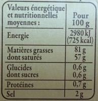 Beurre d'Isigny AOP de baratte DEMI-SEL - Valori nutrizionali - fr