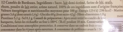Canelés de Bordeaux - Ingrédients - fr
