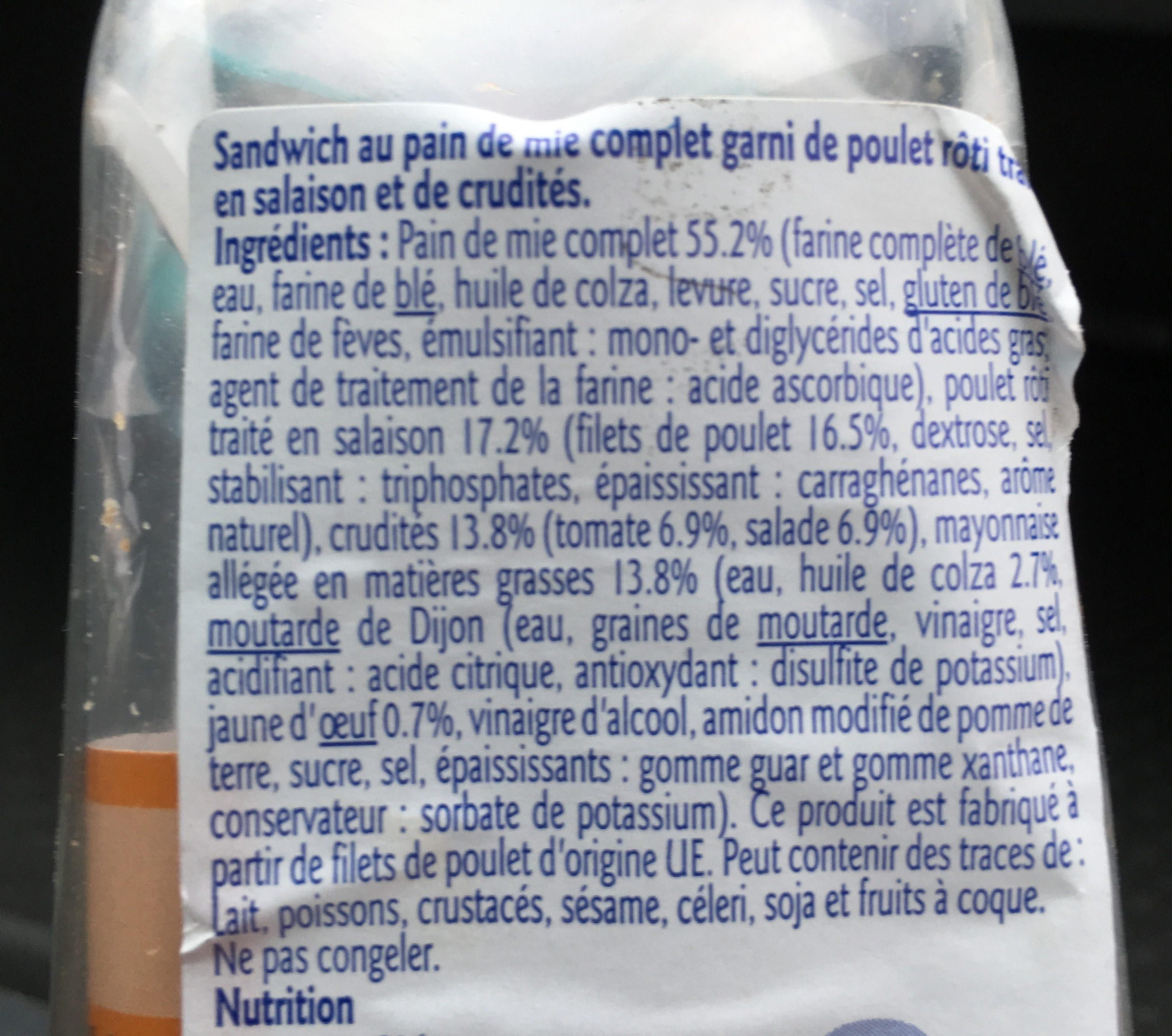 Sandwich Club Poulet Crudités - Ingrediënten
